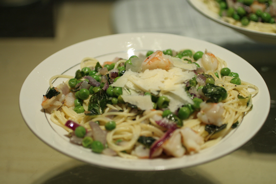 Minty Pea Pasta... with Shrimp!