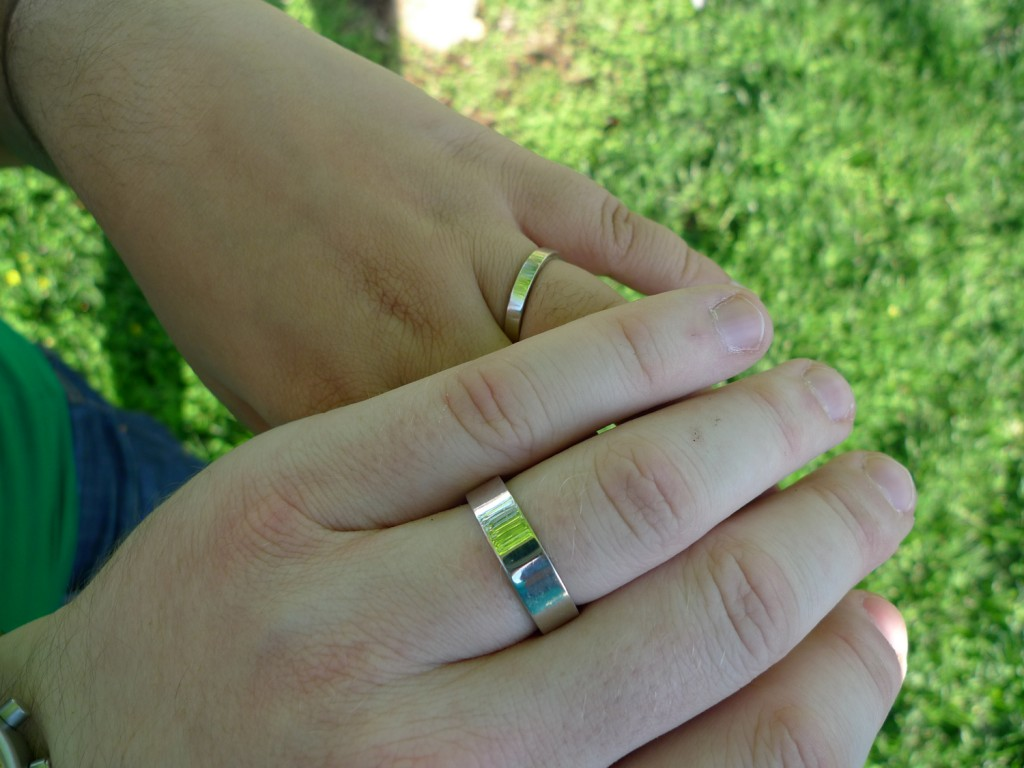 Yes, we realize these are traditionally wedding bands, but we exchanged them in honor of our engagement